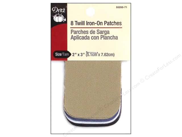 Twill Iron On Patches by Dritz 8 pc. Light Assortment 2 x 3 in.