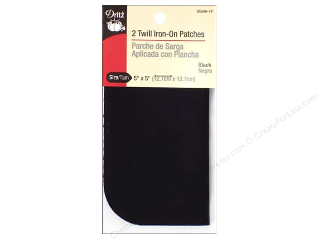 Twill Iron On Patches by Dritz 2 pc. Black 5 x 5 in.