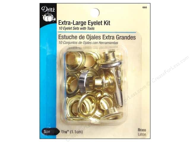 Extra Large Eyelet Kit by Dritz 7/16 in Brass 10 pc.