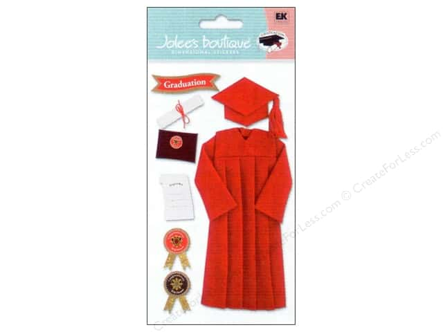 Jolee's Boutique Stickers Cap & Gown Red