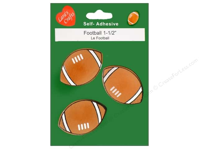 Lara's Wood Stickers Football 1 1/2 in. 3 pc.