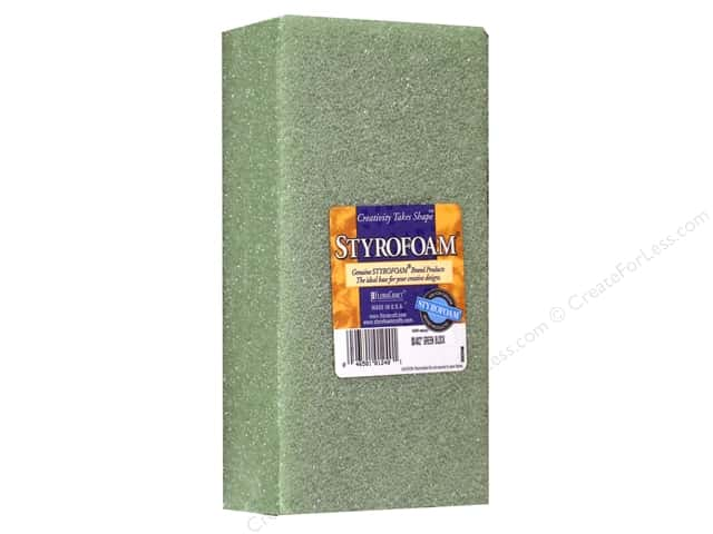 FloraCraft Styrofoam Block  8 x 4 x 2  in. Green 1 pc.
