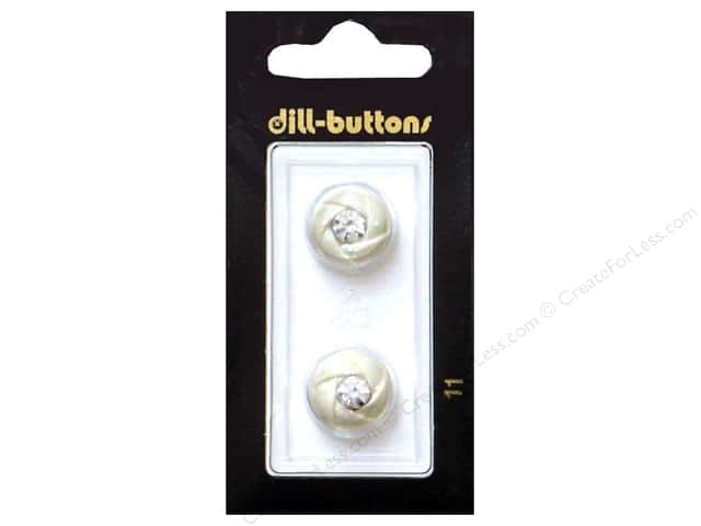 Dill Shank Buttons 5/8 in. White with Rhinestone  #11 2pc.