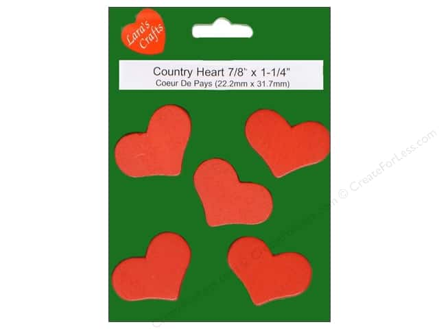 Lara's Wood Painted Country Heart 1 1/4 x 7/8 in. 5pc.