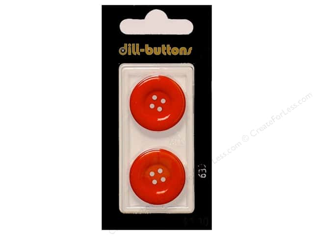 Dill 4 Hole Buttons 7/8 in. Red #639 2pc.