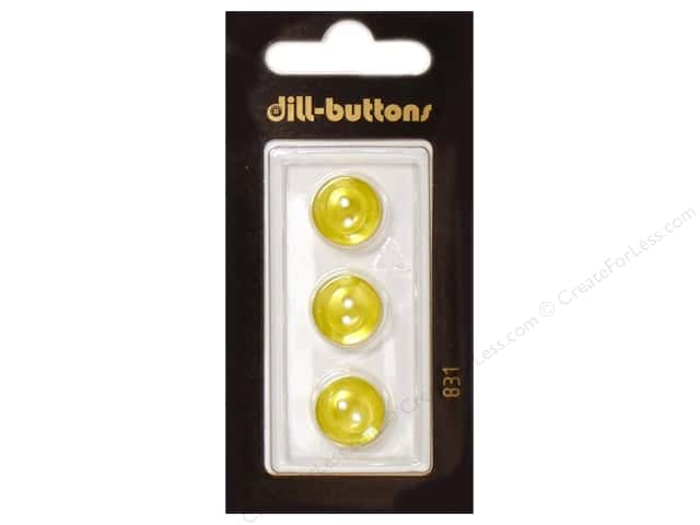 Dill 2 Hole Buttons 1/2 in. Yellow #831 3pc.