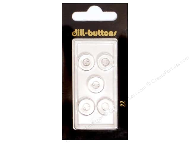 Dill 2 Hole Buttons 7/16 in. Transparent #22 5pc.