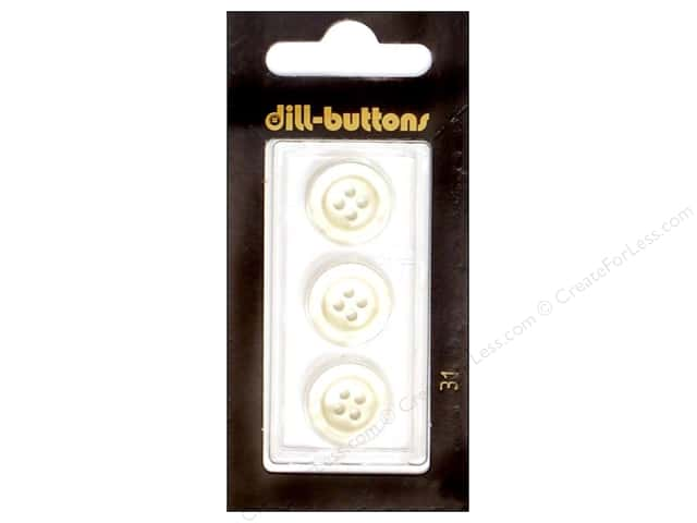Dill 4 Hole Buttons 5/8 in. White #31 3pc.