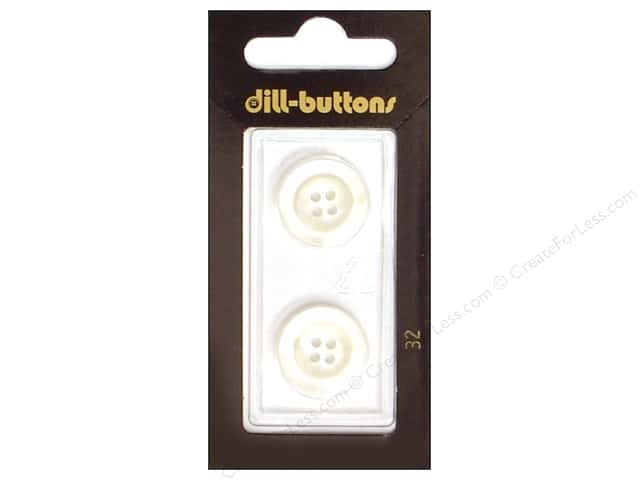 Dill 4 Hole Buttons 11/16 in. White #32 2pc.