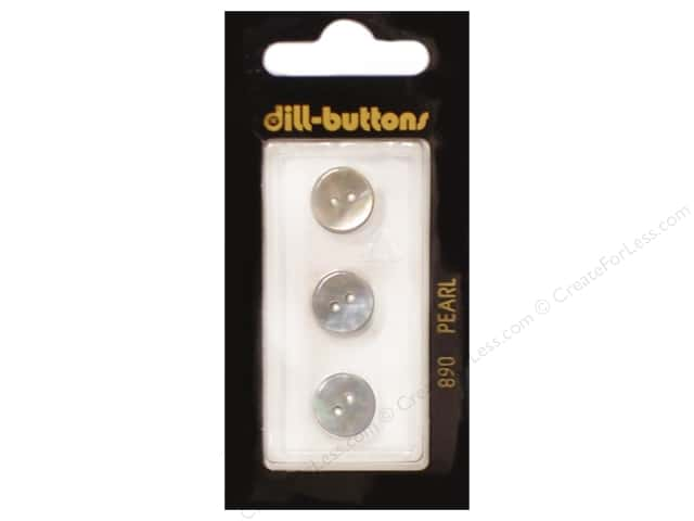 Dill 2 Hole Buttons 7/16 in. White Mother of Pearl #890 3pc.