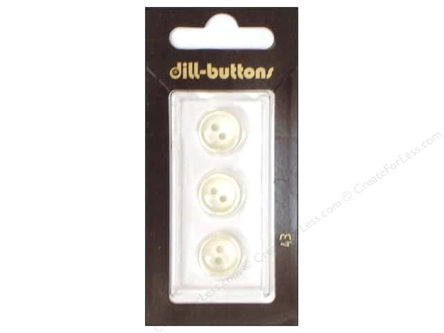 Dill 2 Hole Buttons 1/2 in. White #43 3pc.