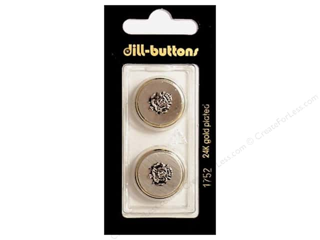 Dill Shank Buttons 13/16 in. Gold Metal Crest #1752 2pc.