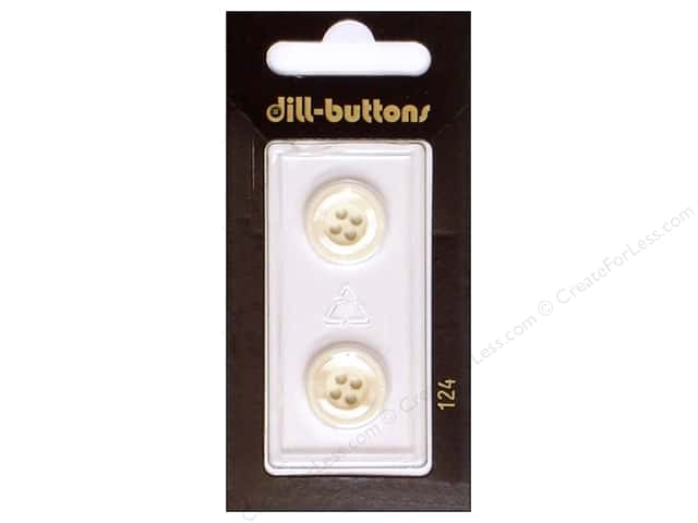 Dill 4 Hole Buttons 5/8 in. White #124 2pc.