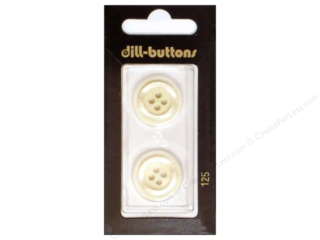 Dill 4 Hole Buttons 13/16 in. White  #125 2pc.