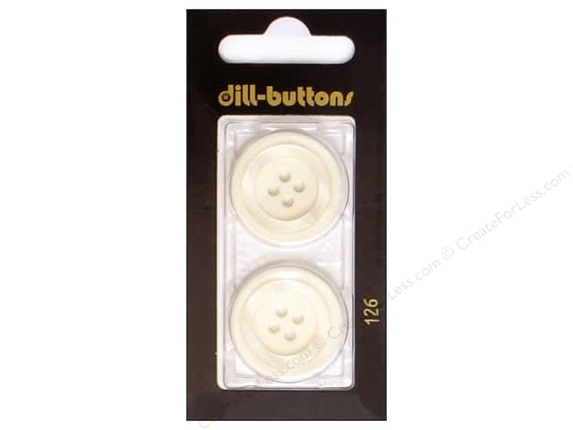 Dill 4 Hole Buttons 1 in. White #126 2pc.