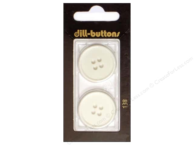 Dill 4 Hole Buttons 1 in. White #138 2pc.