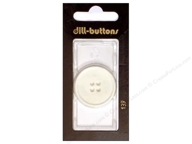Dill 4 Hole Buttons 1 1/8 White #139 1pc.