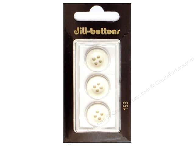 Dill 4 Hole Buttons 5/8 in. White #153 3pc.