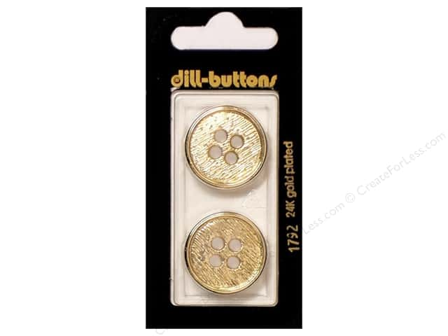 Dill 4 Hole Buttons 7/8 in. Gold #1792 2 pc.