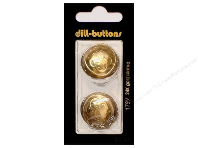 Dill Shank Buttons 1 in. Dull Gold Metal #1799 2pc.
