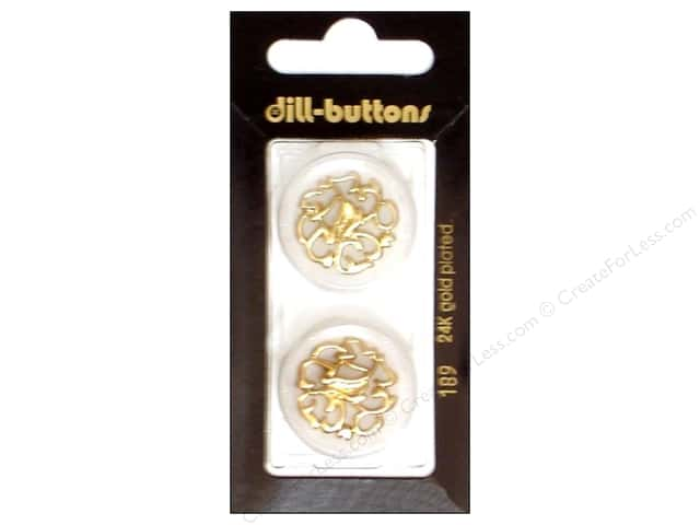 Dill Shank Buttons 1 in. Transparent with Gold Design #189 2pc.