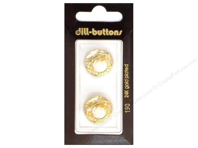 Dill Shank Buttons 11/16 in. White/ Gold Metal #190 2pc.