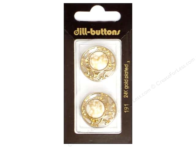 Dill Shank Buttons 7/8 in. White/ Gold Metal #191 2pc.