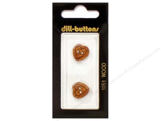 Dill 2 Hole Buttons 5/8 in. Wood Brown Heart #1051 2pc.
