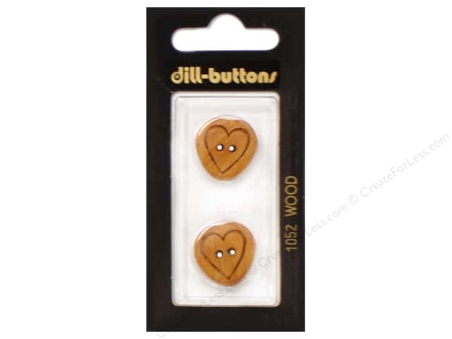 Dill 2 Hole Buttons 13/16 in. Wood Brown Heart #1052 2pc.