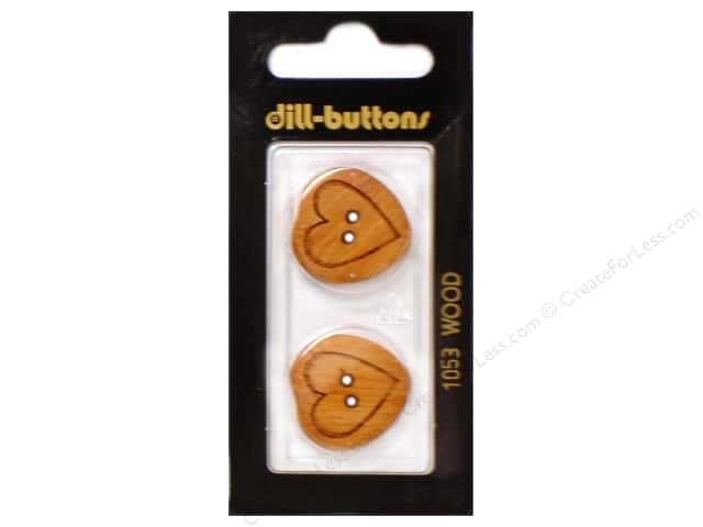 Dill 2 Hole Buttons 7/8 in. Wood Brown Heart #1053 2pc.