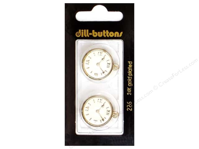 Dill Shank Buttons 13/16 in. Enamel Clock #226 2pc.