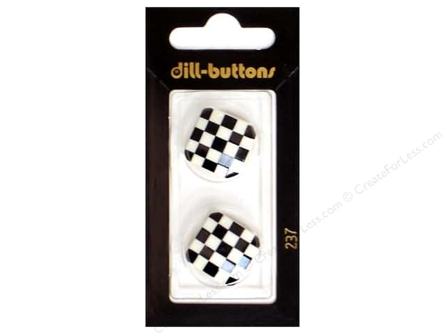 Dill Shank Buttons 13/16 in. White and Black Checks #237 2pc.