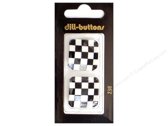 Dill Shank Buttons 1 1/8 in. White & Black Checks #238 2pc.