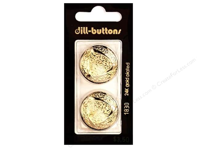 Dill Shank Buttons 1 in. Gold Metal #1830 2pc.