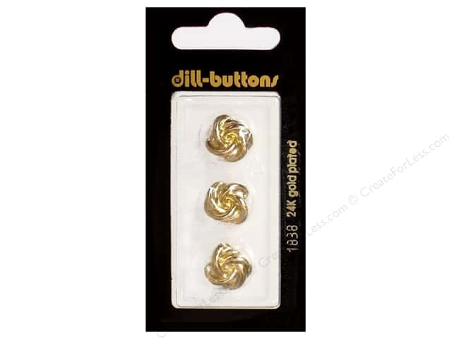 Dill Shank Buttons 9/16 in. Gold Metal #1838 3pc.