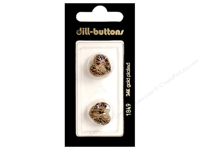 Dill Shank Buttons 5/8 in. Antique Gold Metal Heart #1849 2 pc.