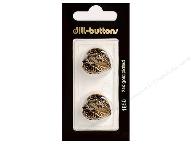 Dill Shank Buttons 13/16 in. Antique Gold Metal Heart #1850 2pc.