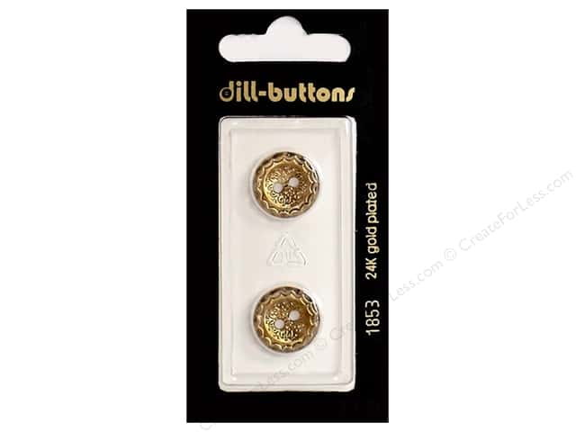 Dill 2 Hole Buttons 5/8 in.  Antique Gold #1853 2pc.