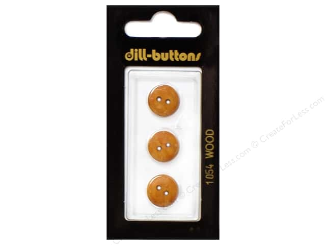 Dill 2 Hole Buttons 1/2 in. Wood Brown #1054 3 pc.
