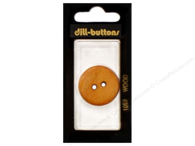 Dill 2 Hole Buttons 1 1/8 in. Wood Brown #1059 1 pc.