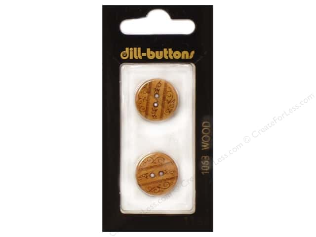 Dill 2 Hole Buttons 11/16 in. Wood Brown #1063 2pc.