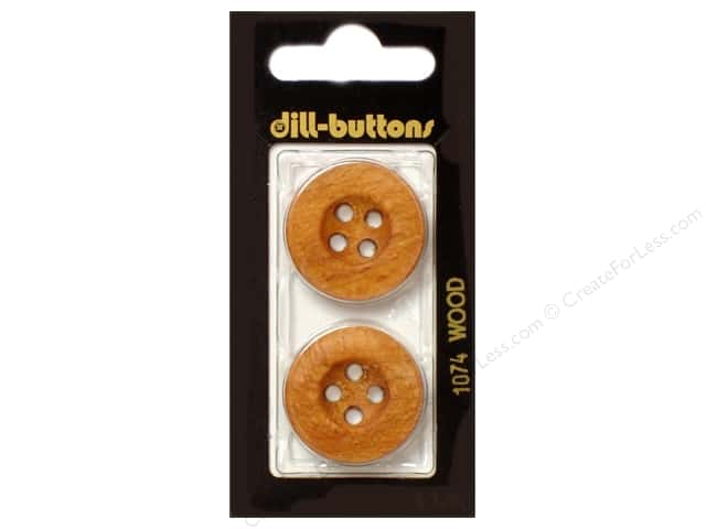 Dill 4 Hole Buttons 1 in. Wood Brown #1074 2pc.