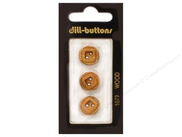 Dill 2 Hole Buttons 5/8 in. Wood Brown #1079 3pc.
