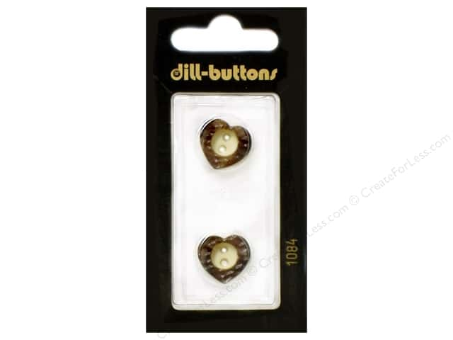 Dill 2 Hole Buttons 5/8 in. Wood Brown Heart  #1084 2pc.