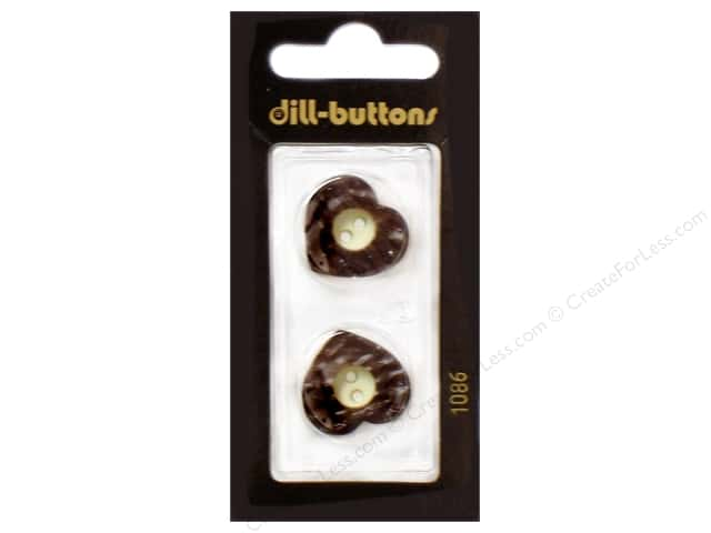 Dill 2 Hole Buttons 13/16 in. Wood Heart Brown #1086 2pc.