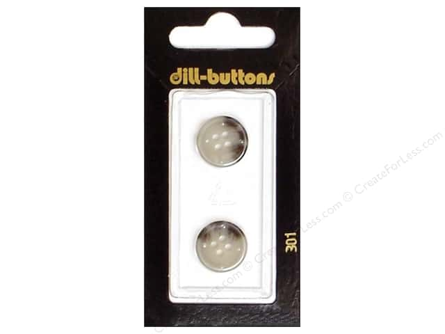Dill 4 Hole Buttons 5/8 in. Grey #301 2pc.