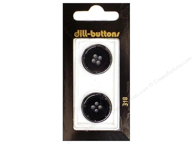 Dill 4 Hole Buttons 13/16 in. Black #318 2pc.