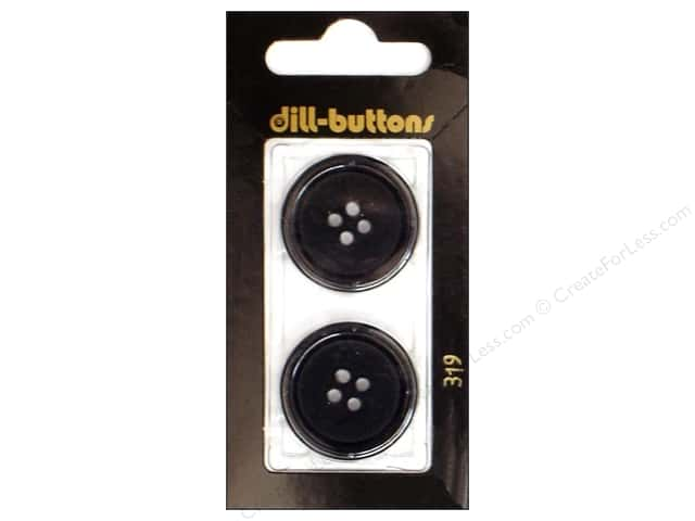 Dill 4 Hole Buttons 1 in. Black #319 2pc.