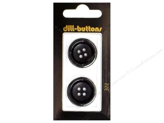 Dill 4 Hole Buttons 7/8 in. Black #322 2pc.