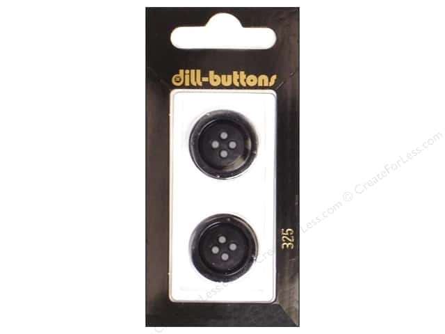 Dill 4 Hole Buttons 13/16 in. Black #325 2pc.